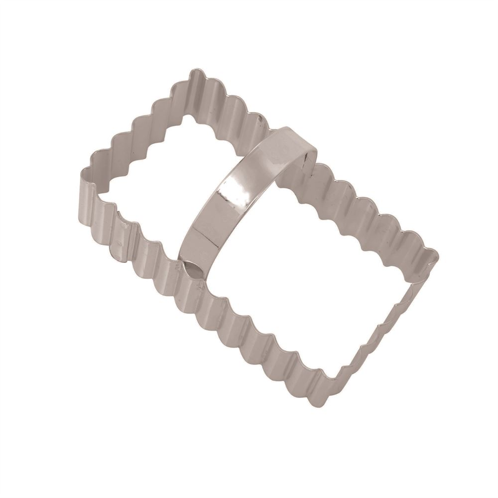 Rectangle Ss Fluted Cookie Cutter With Handle Eddingtons