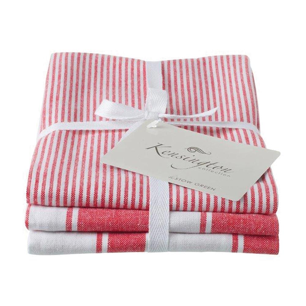 Kensington Stripe Tea Towel Red Set Of 3 Eddingtons